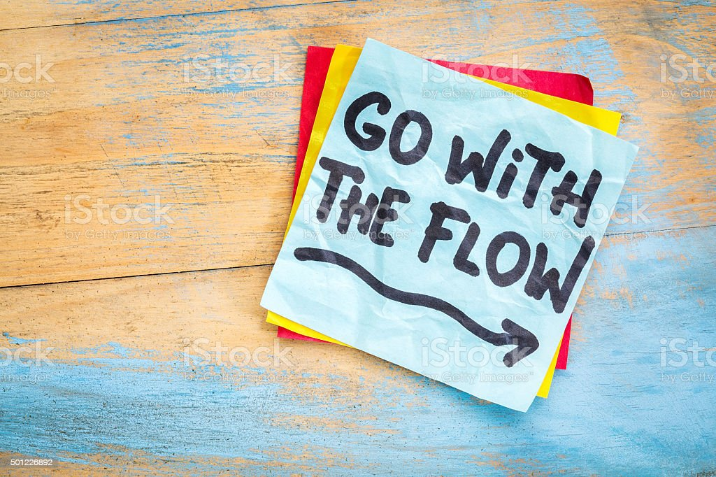 Go with the flow advice stock photo