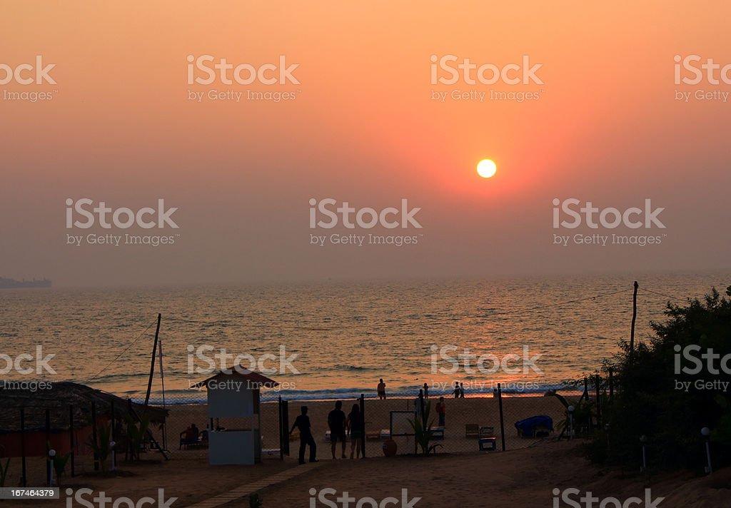 Goa Candolim beach at sunset royalty-free stock photo