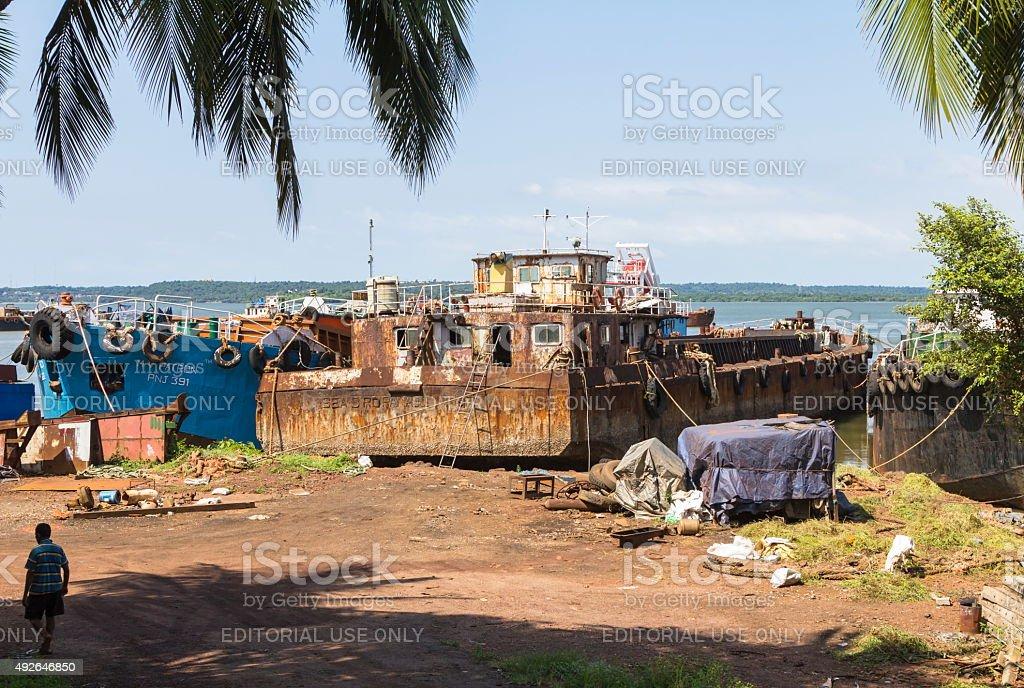 Goa iron-ore barge ships, India stock photo