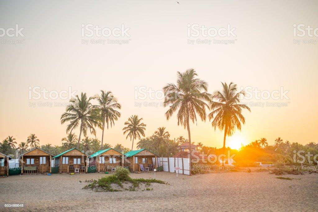 Goa_Sunrise_Huts stock photo