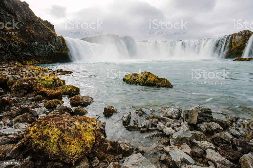 Goðafoss waterfall in summer River Skjálfandafljót, Iceland, long exposure stock photo