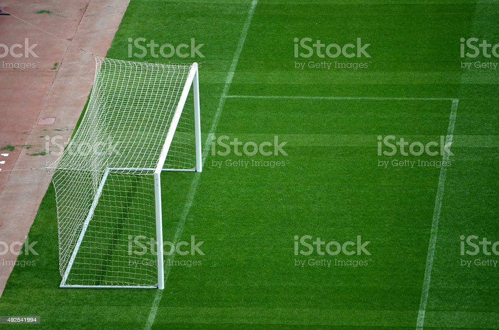 Goal and Soccer Field during Soccer Game stock photo