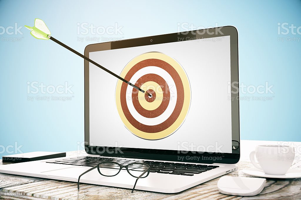 Goal concept blue background stock photo