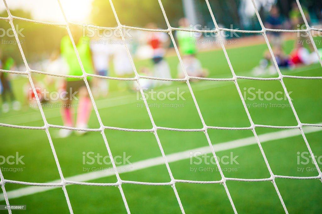 Goal kick athletic training stock photo