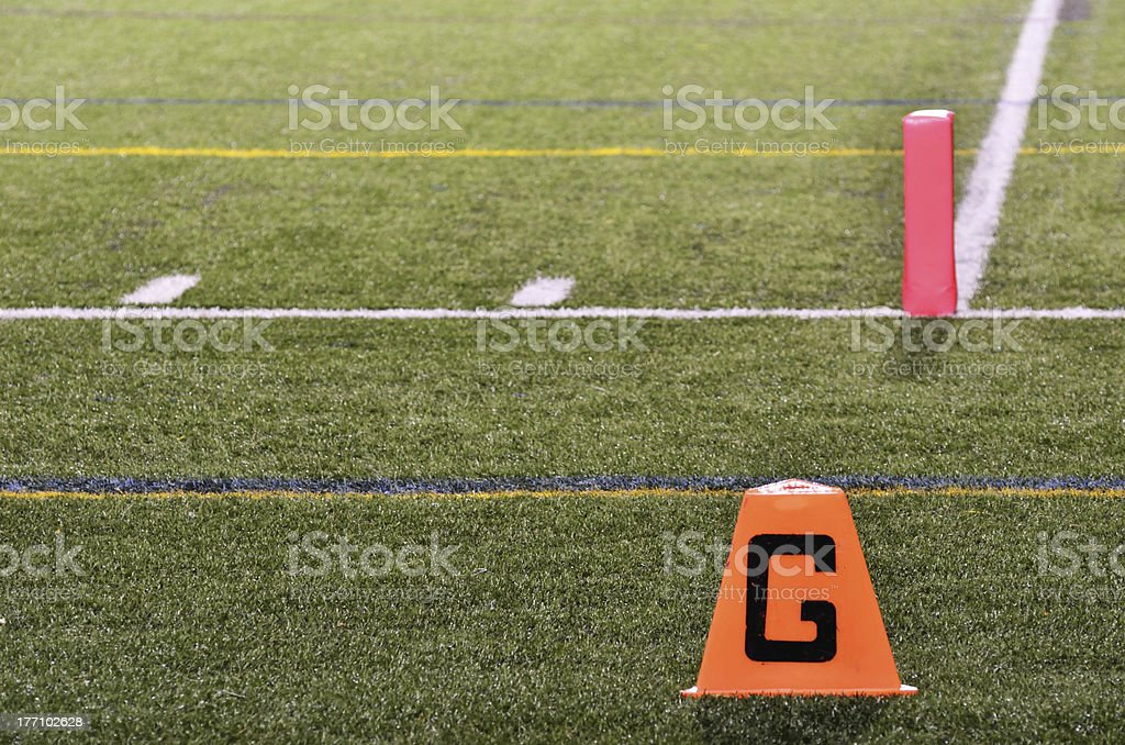 Goal Line on American Football Field royalty-free stock photo