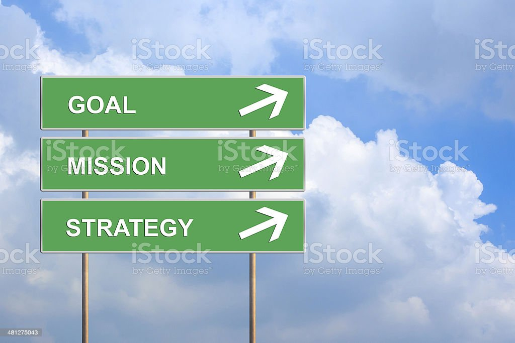 goal mission and strategy on green road sign stock photo