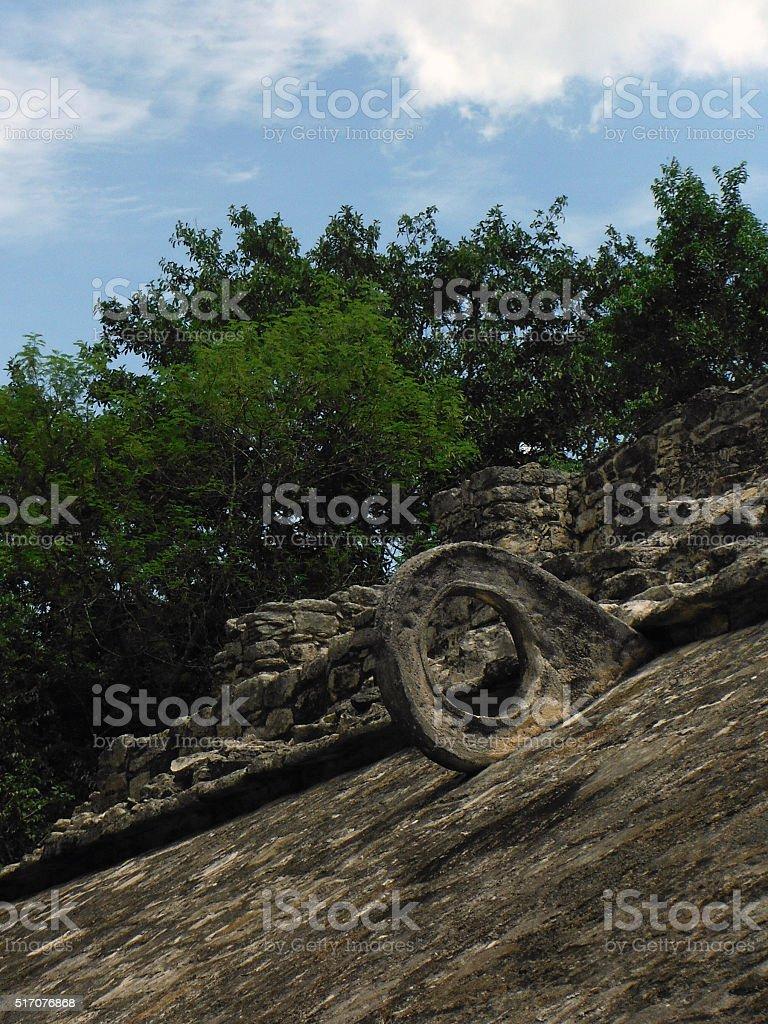 Goal of Ancient Mayan Ballgame Pitz stock photo