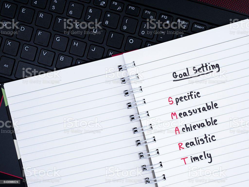 SMART goal on laptop 5 stock photo