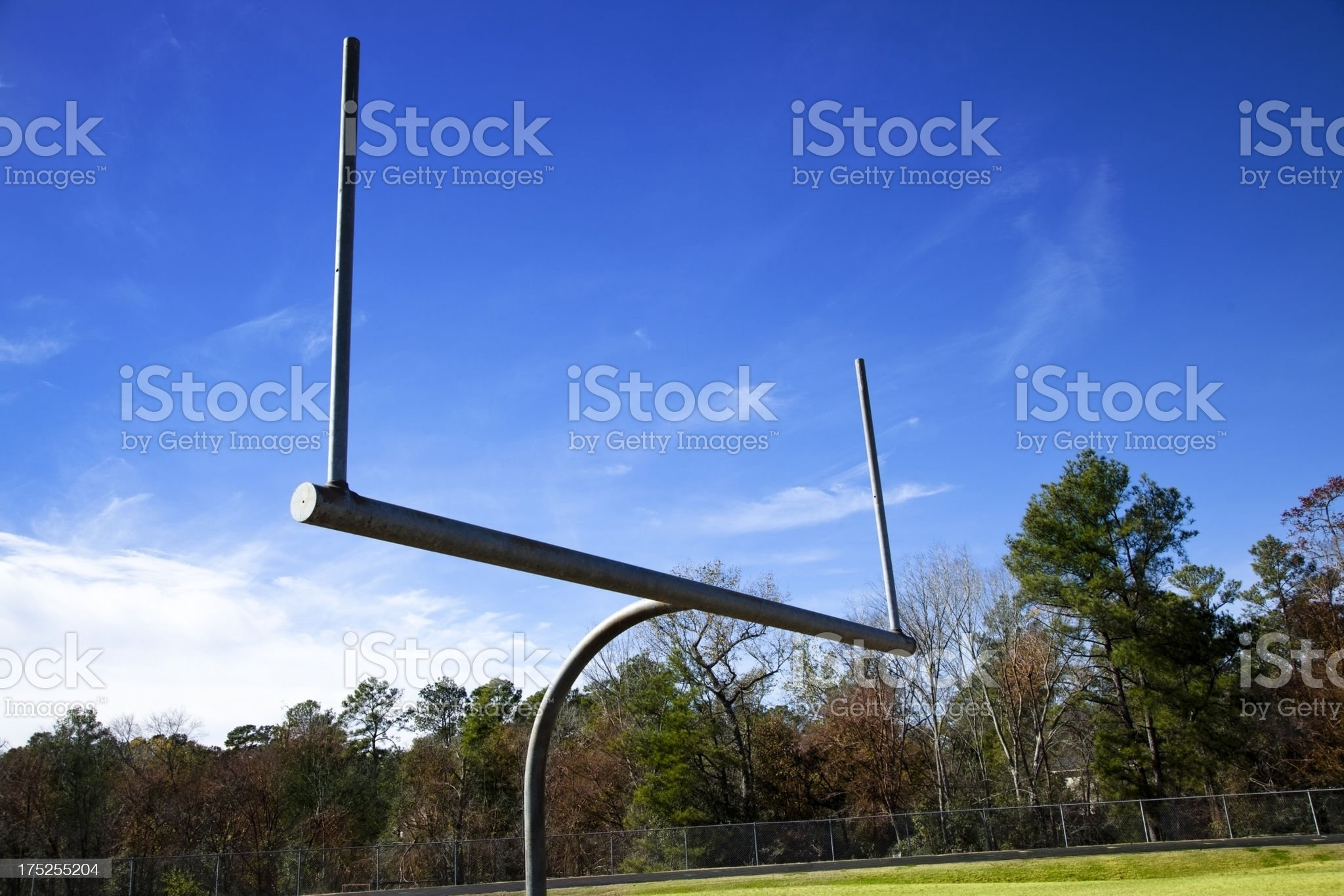 Goal post at end of junior high school football field. royalty-free stock photo