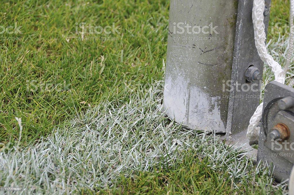 Goal post on a football field stock photo