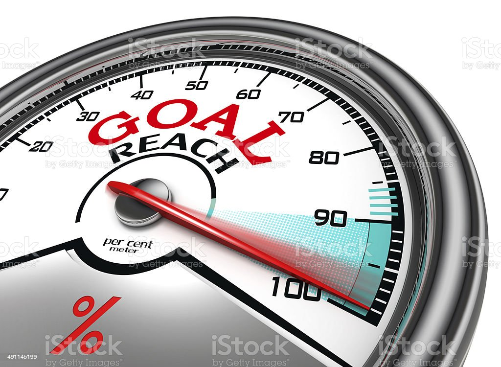 goal reach conceptual meter stock photo