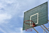 goal sign symbol of basketball sport in yard lawn turf