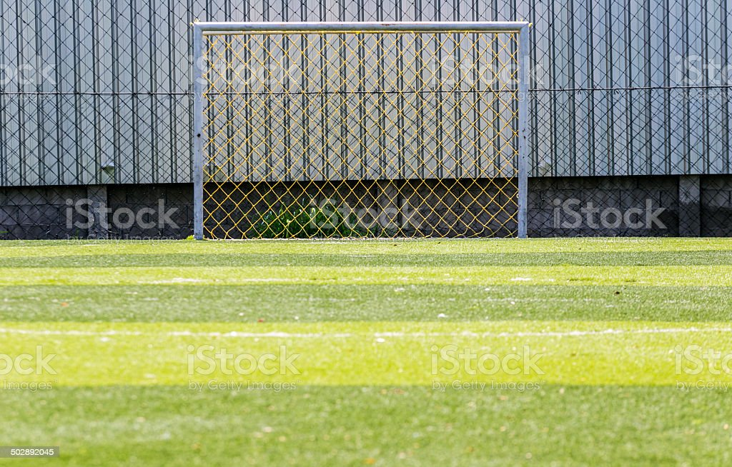 Goal soccer green field background royalty-free stock photo