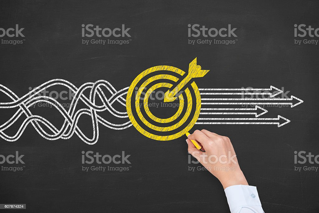 Goal Solution Concept on Blackboard Background stock photo