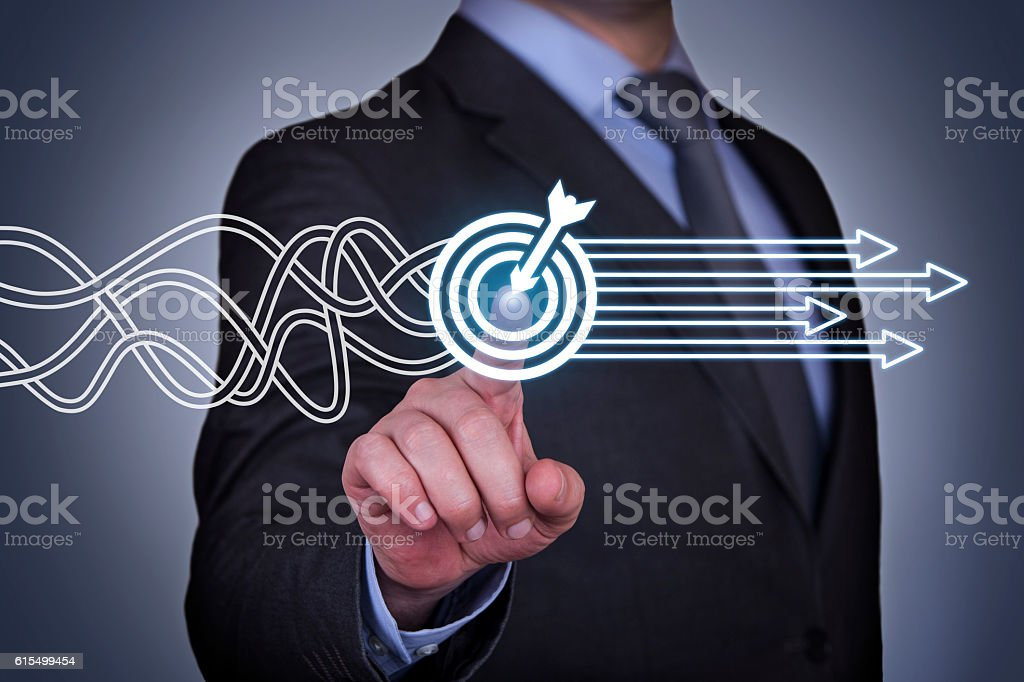 Goal Solution Concept on Touch Screen stock photo