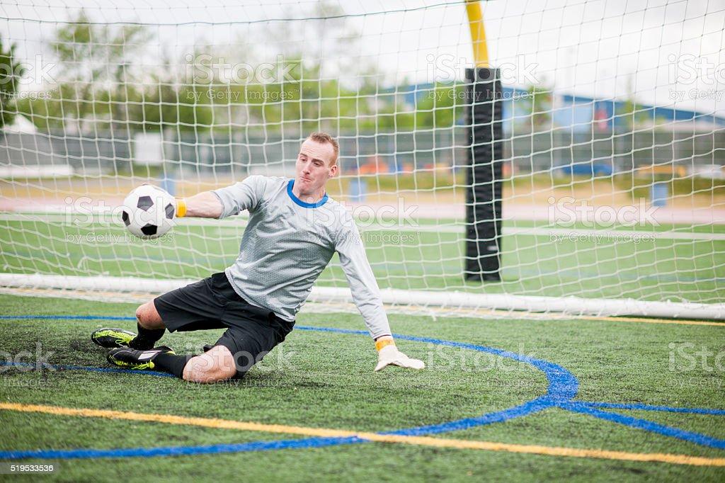 Goalie Blocking the Shot stock photo