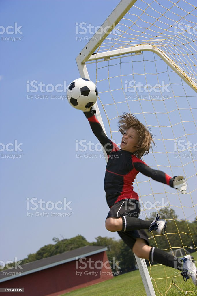 Goalie diving save royalty-free stock photo