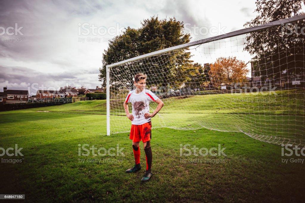 Goalkeeper standing in his Net stock photo