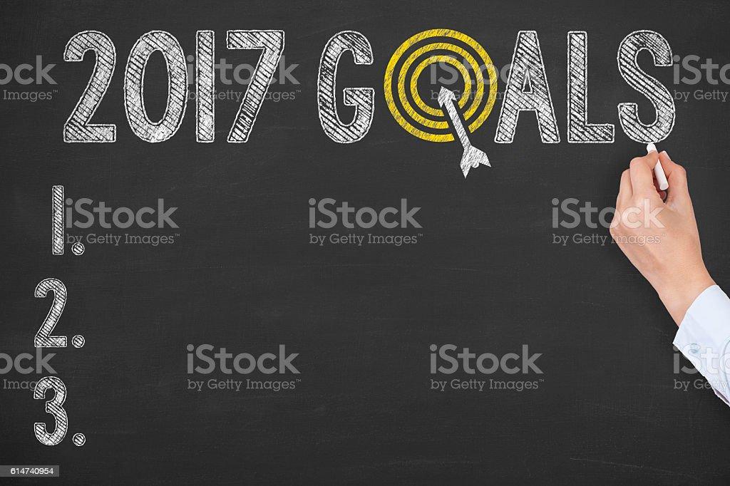 Goals 2017 on Chalkboard Background stock photo