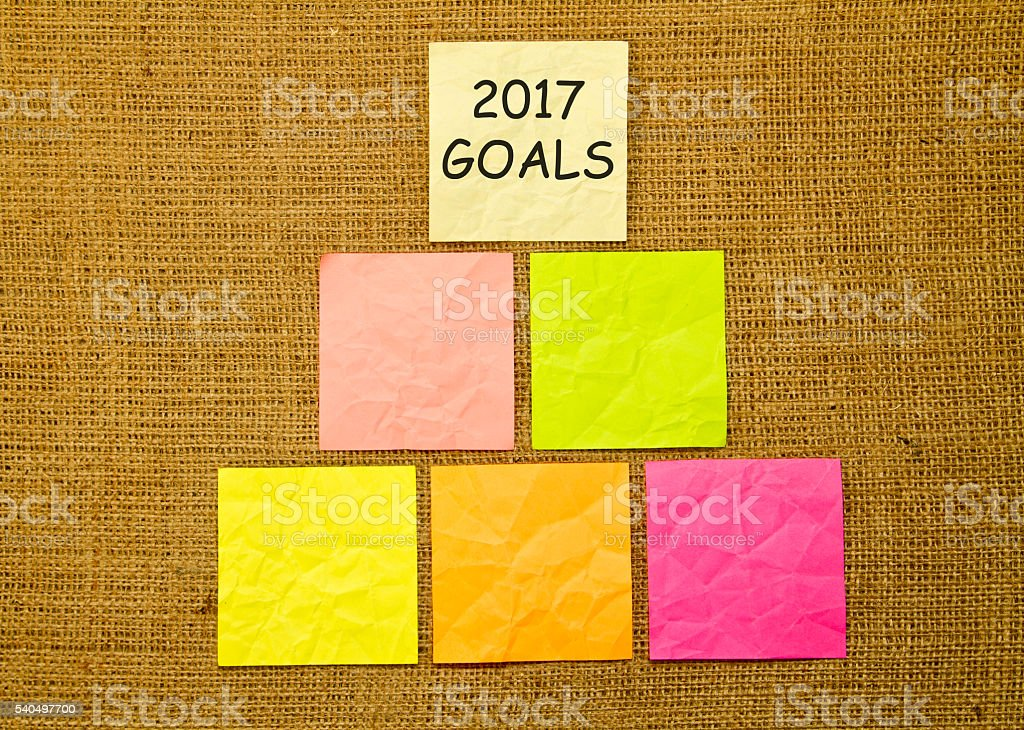 goals 2017 on sticky notes against burlap stock photo