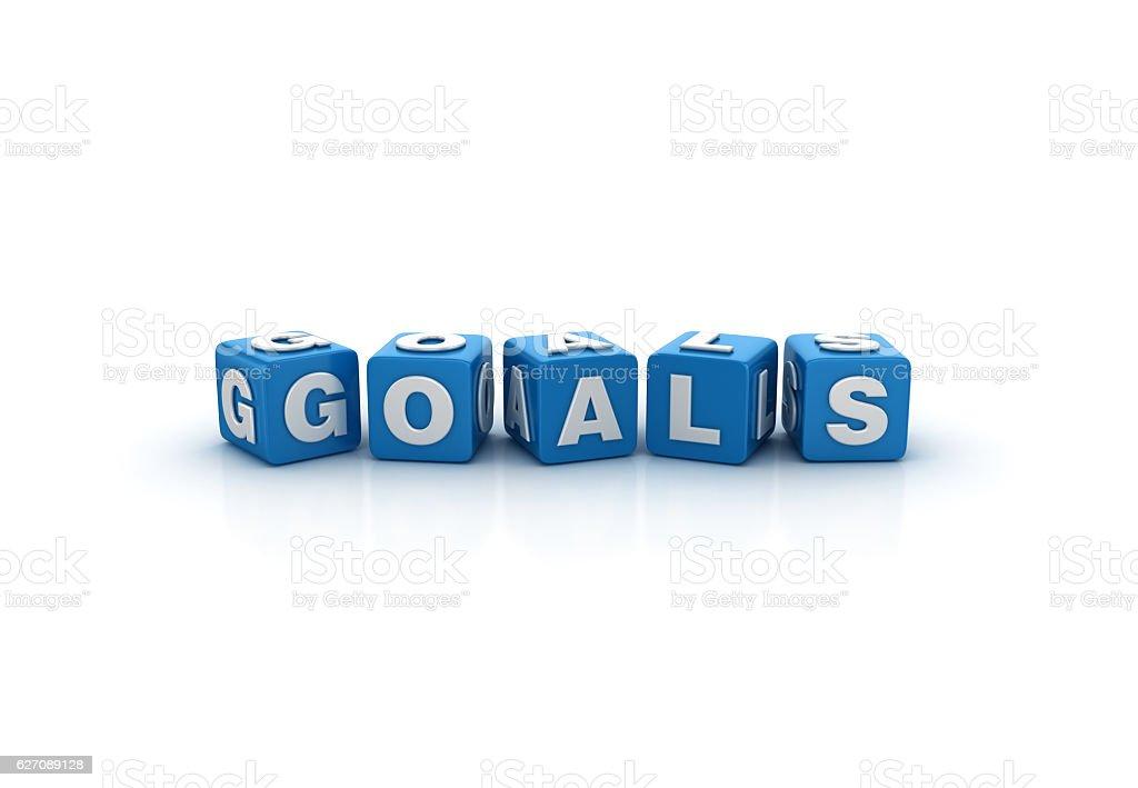 Goals Buzzword Cubes - 3D Rendering stock photo