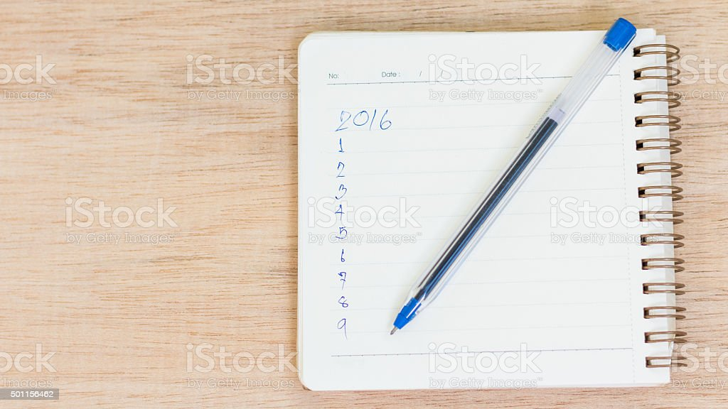 Goals for 2016 - checklist on notepad with pen stock photo