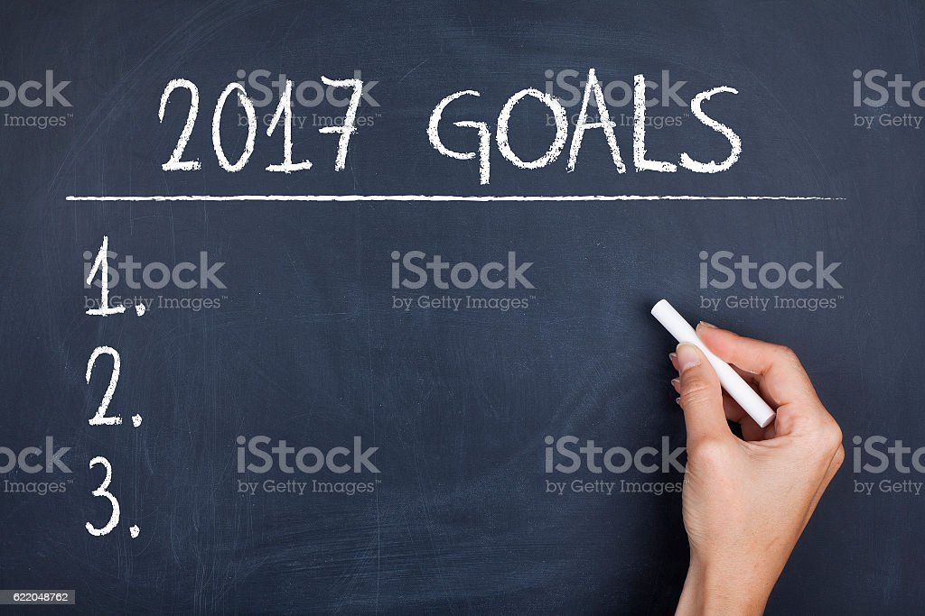 Goals for 2017 list stock photo