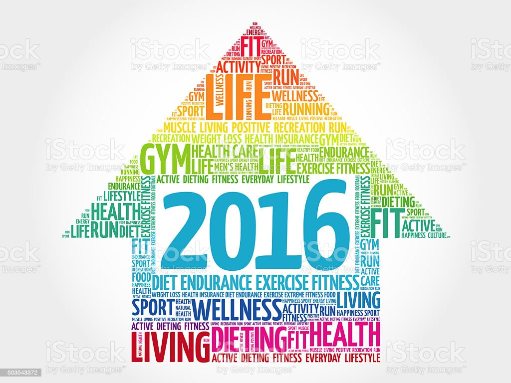 2016 Goals Health word cloud stock photo