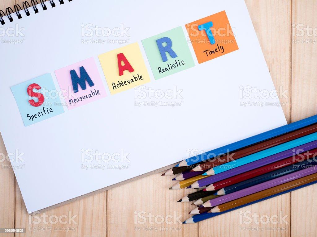 SMART Goals in notebook stock photo