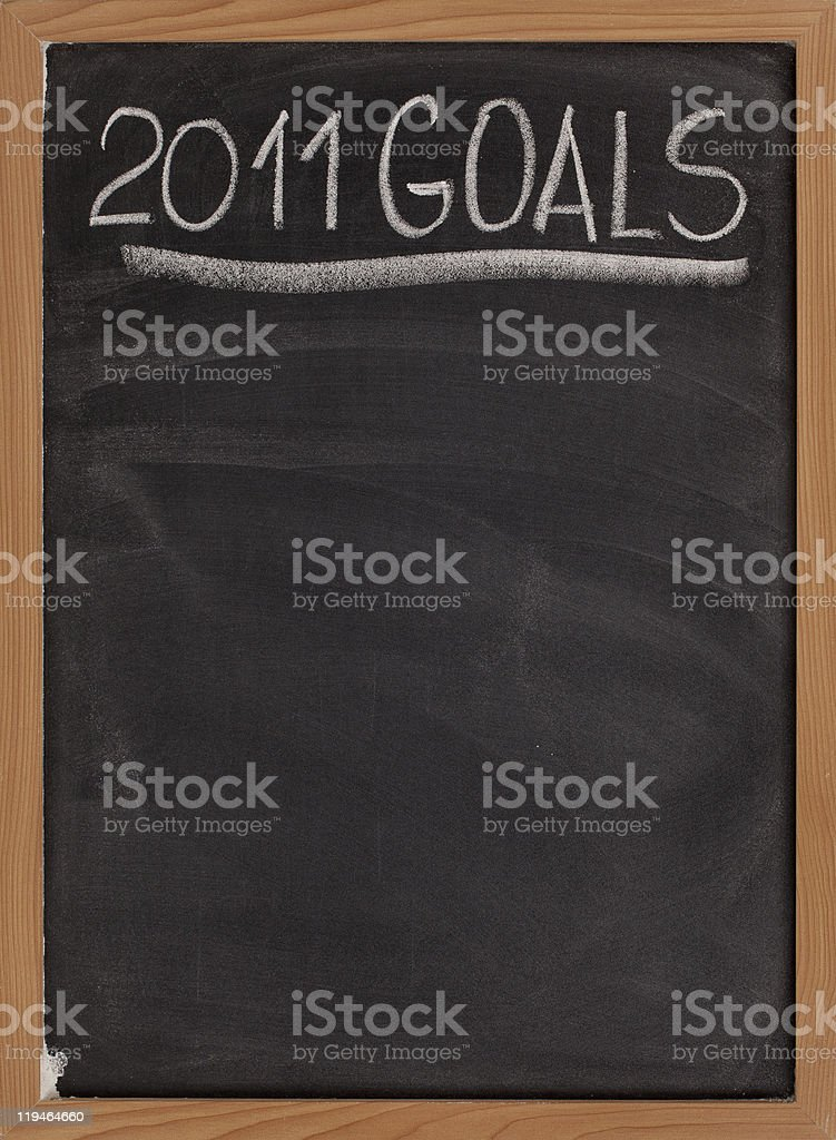 2011 goals title on blackboard royalty-free stock photo