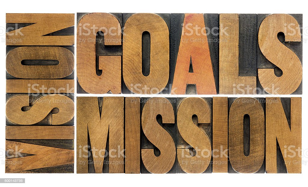 goals, vision and mission stock photo