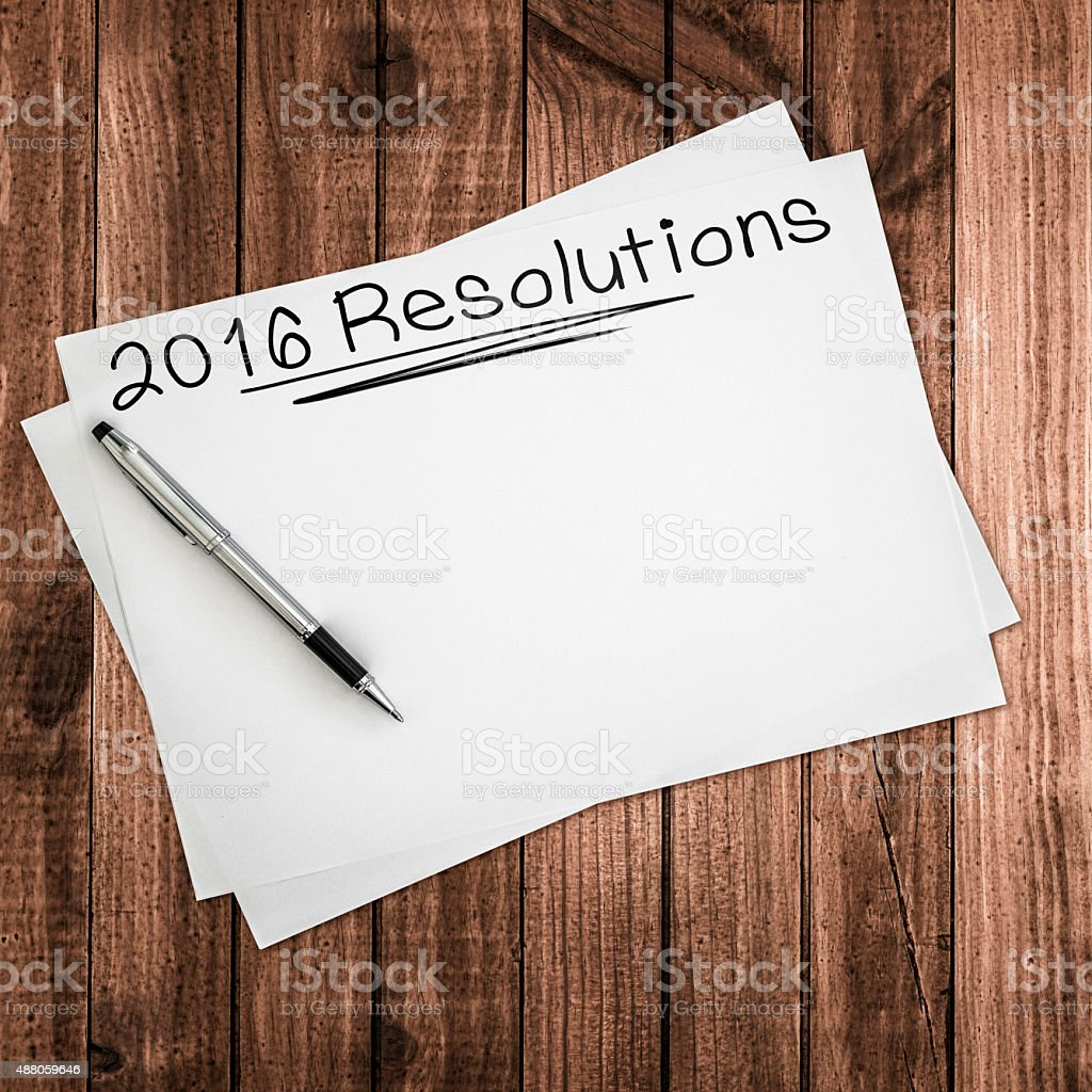 2016 goals with a tablet stock photo