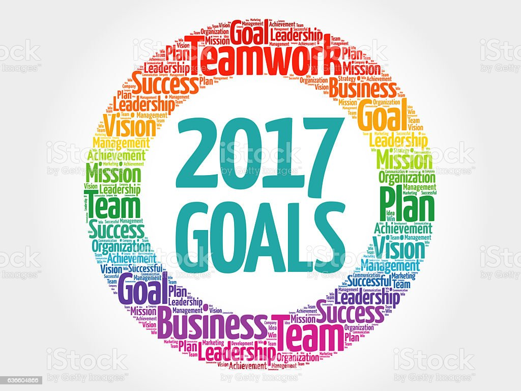 Goals word cloud collage stock photo