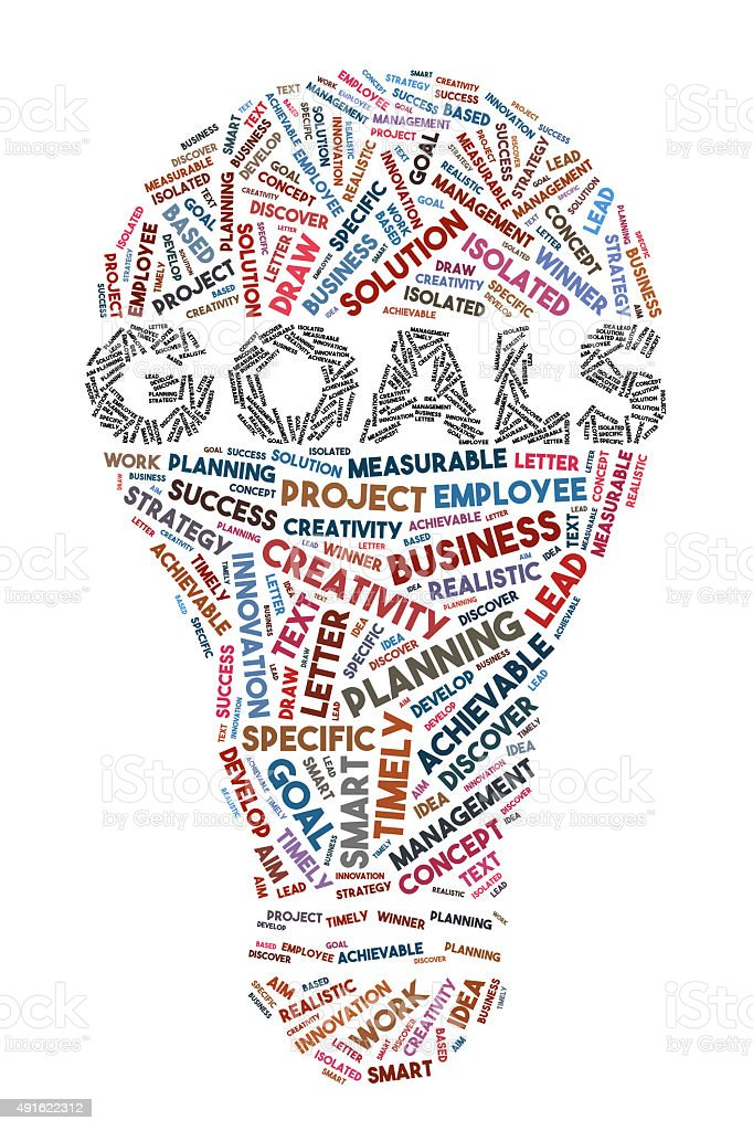 Goals Word Concept With Bulb Shape stock photo