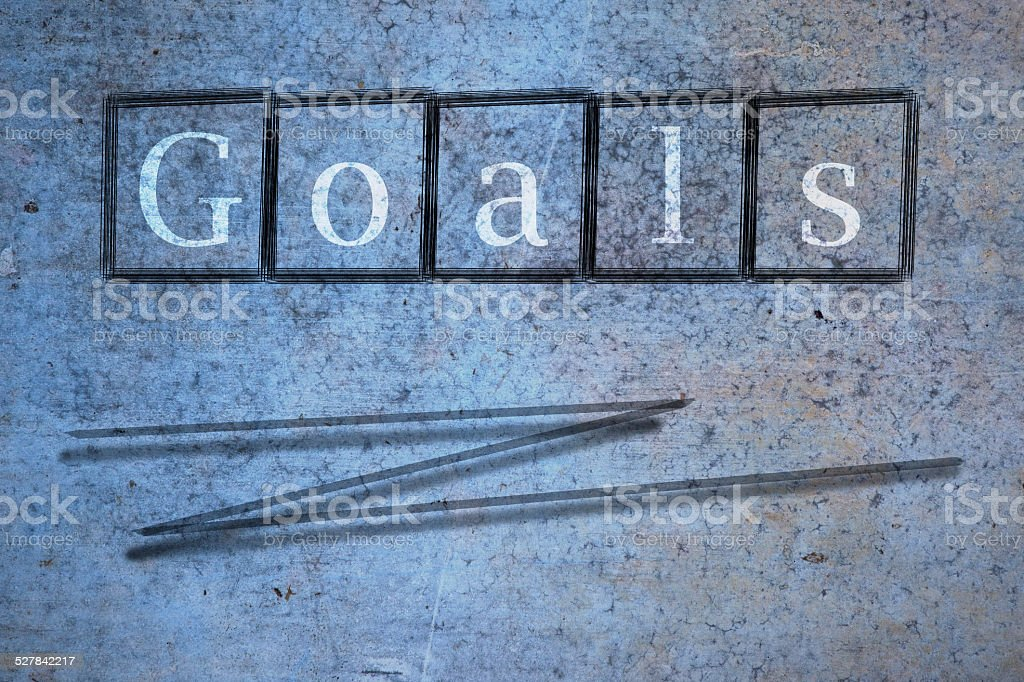 goals writen on a wall background stock photo