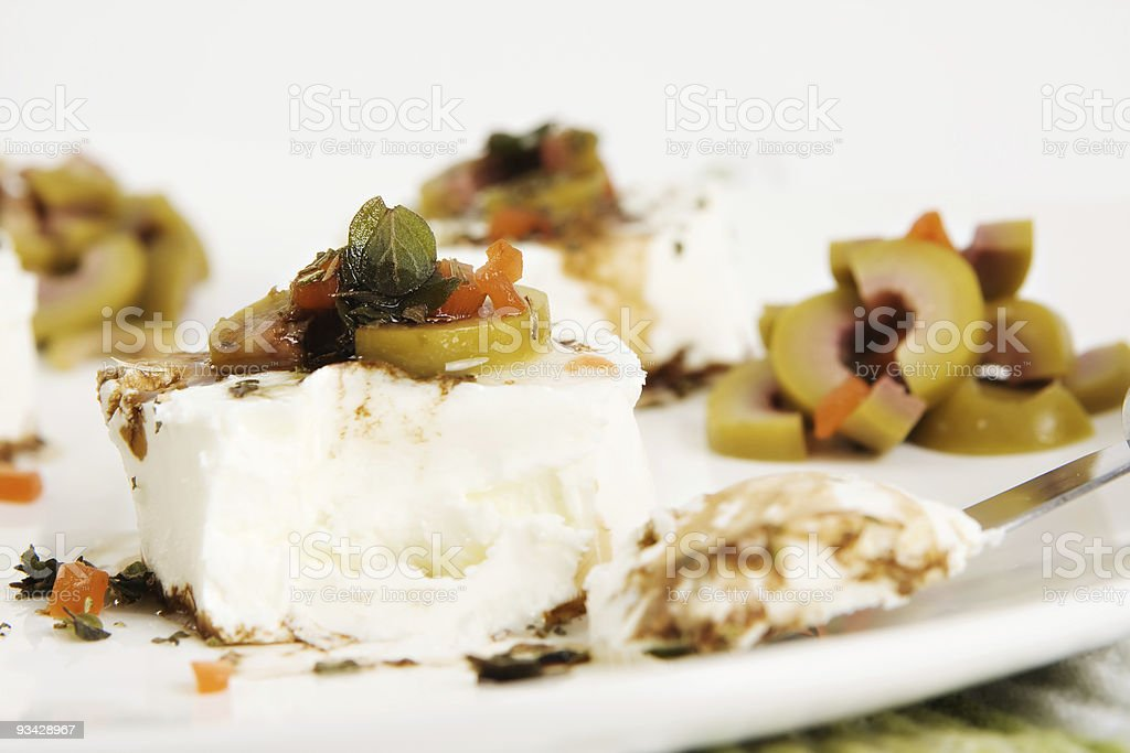 Goat Cheese Appetizer with Olives royalty-free stock photo