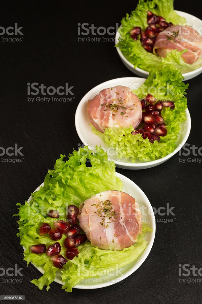 goat cheese with bacon stock photo