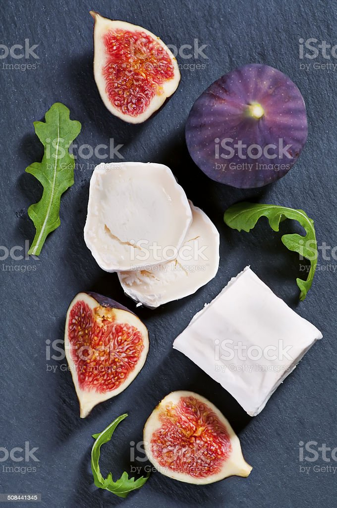 Goat Cheese with Figs and Rucola stock photo