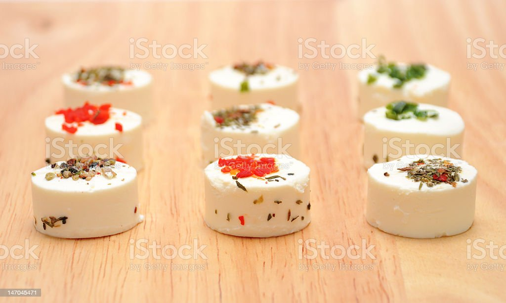 Goat cheese with herbs royalty-free stock photo