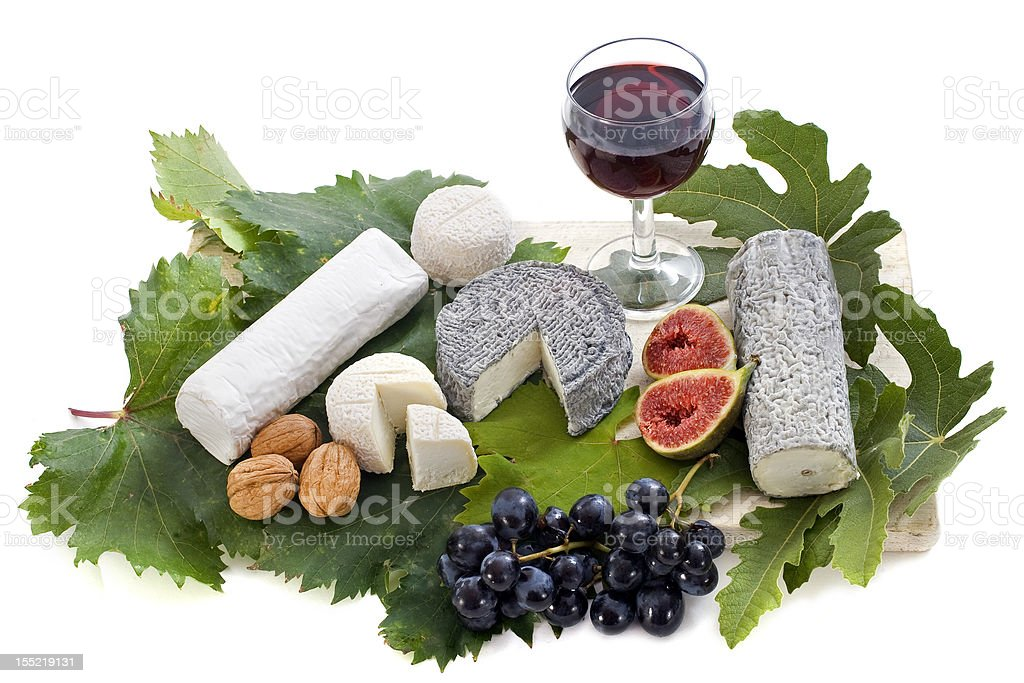 goat cheeses and fruits royalty-free stock photo