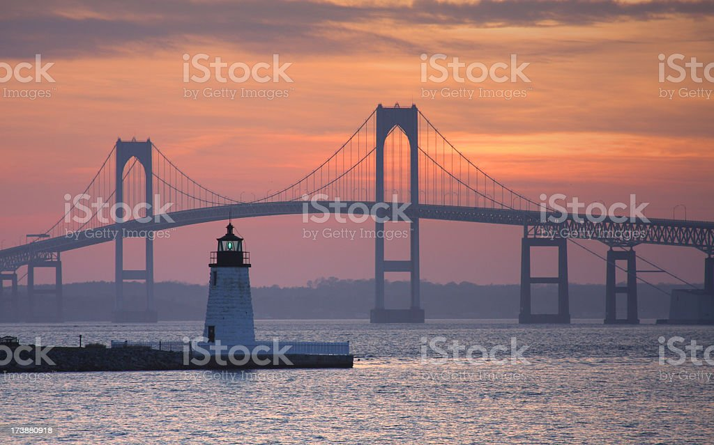 Goat Island Lighthouse in Newport stock photo