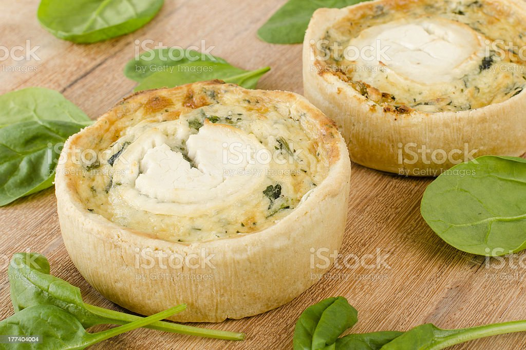 Goat's Cheese & Spinach Quiche stock photo