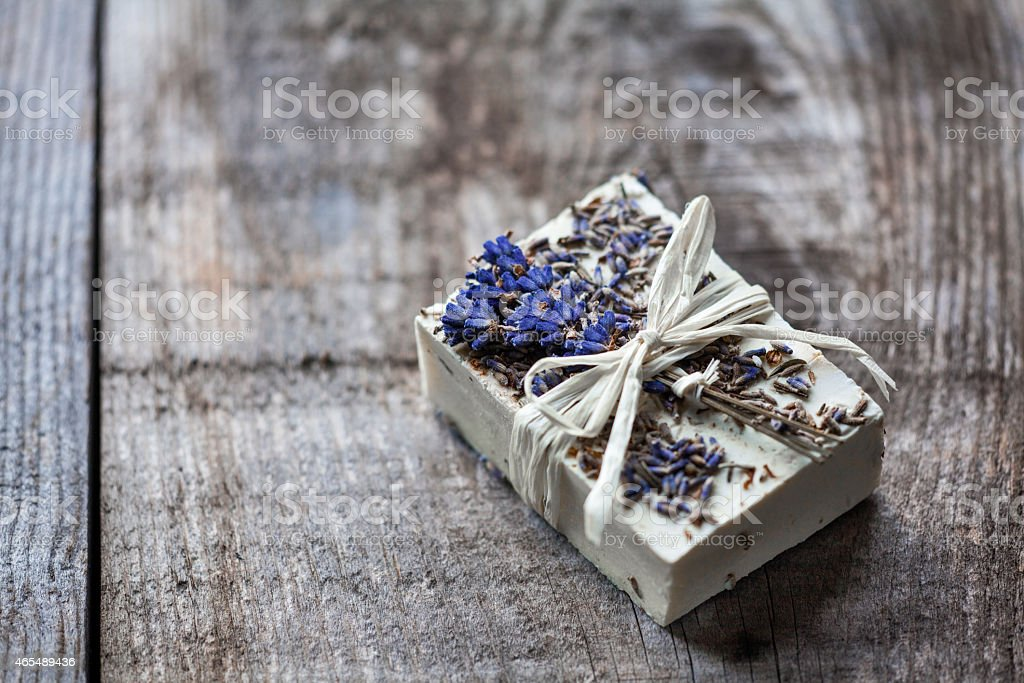 goat's milk soap with lavender stock photo