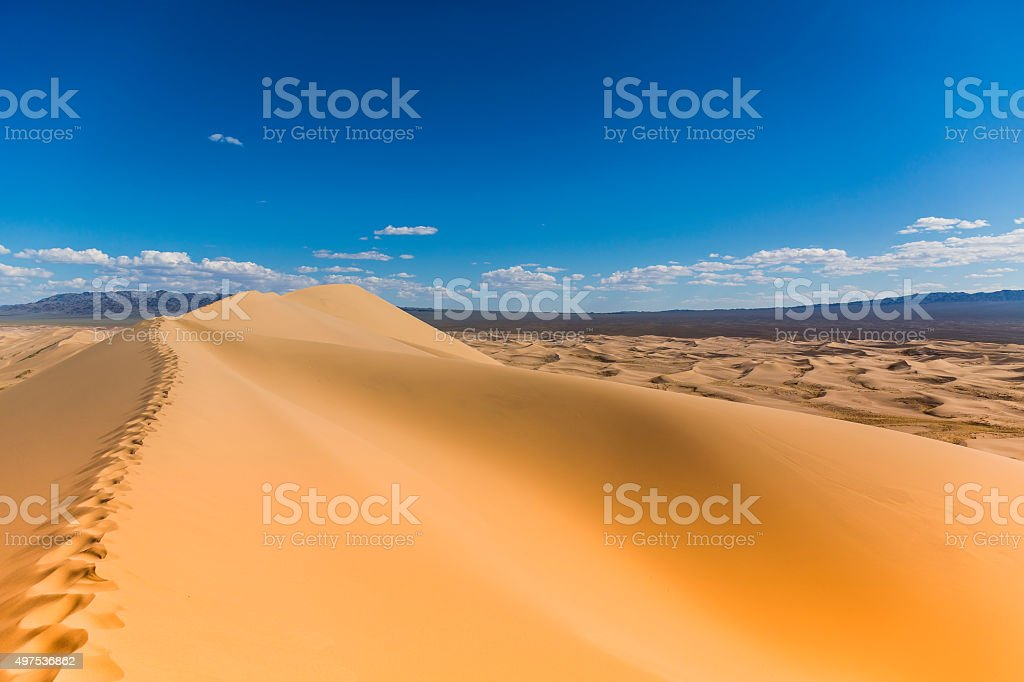 Gobi Desert Sand Dunes Foot Tracks stock photo