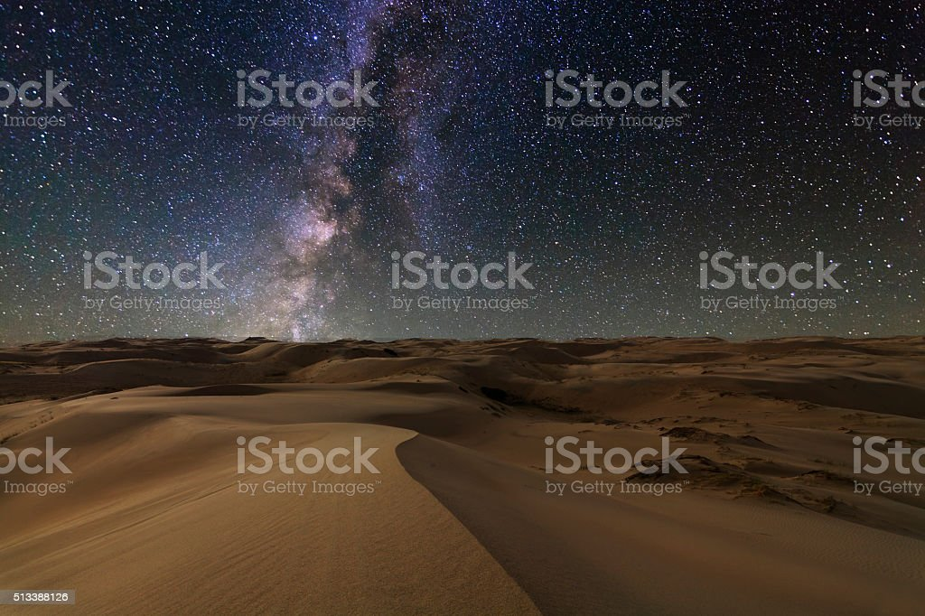 Gobi desert under the night  starry sky. stock photo