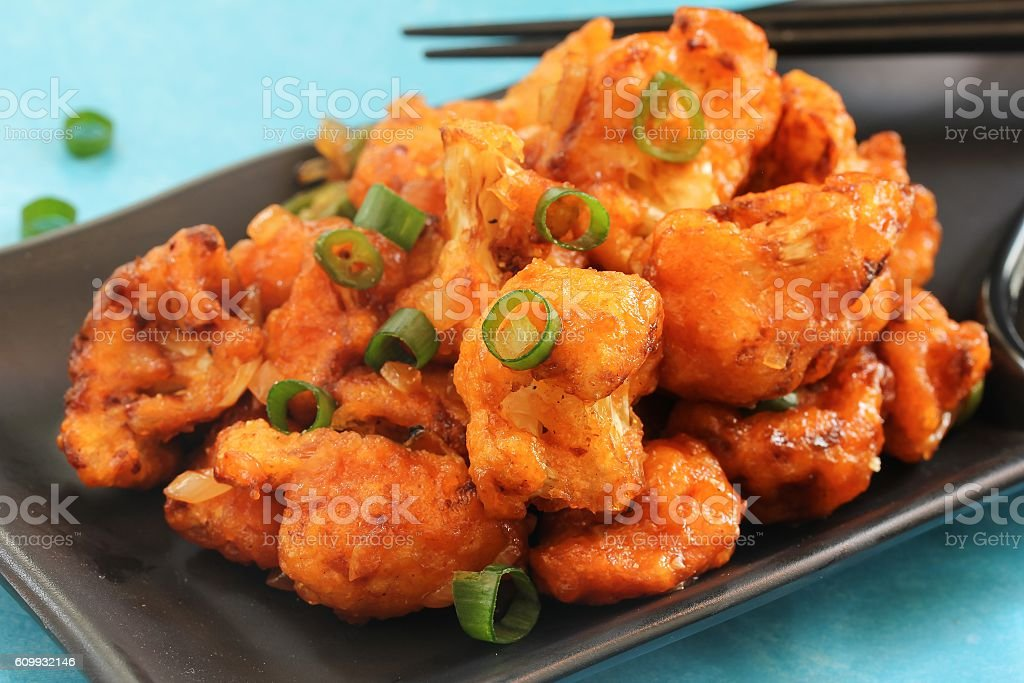 Gobi Manchurian - Indo chinese appetizer using cauliflower stock photo