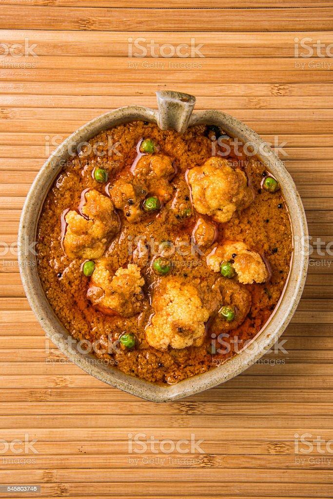 Gobi Masala or gobi fry or cauliflower curry stock photo