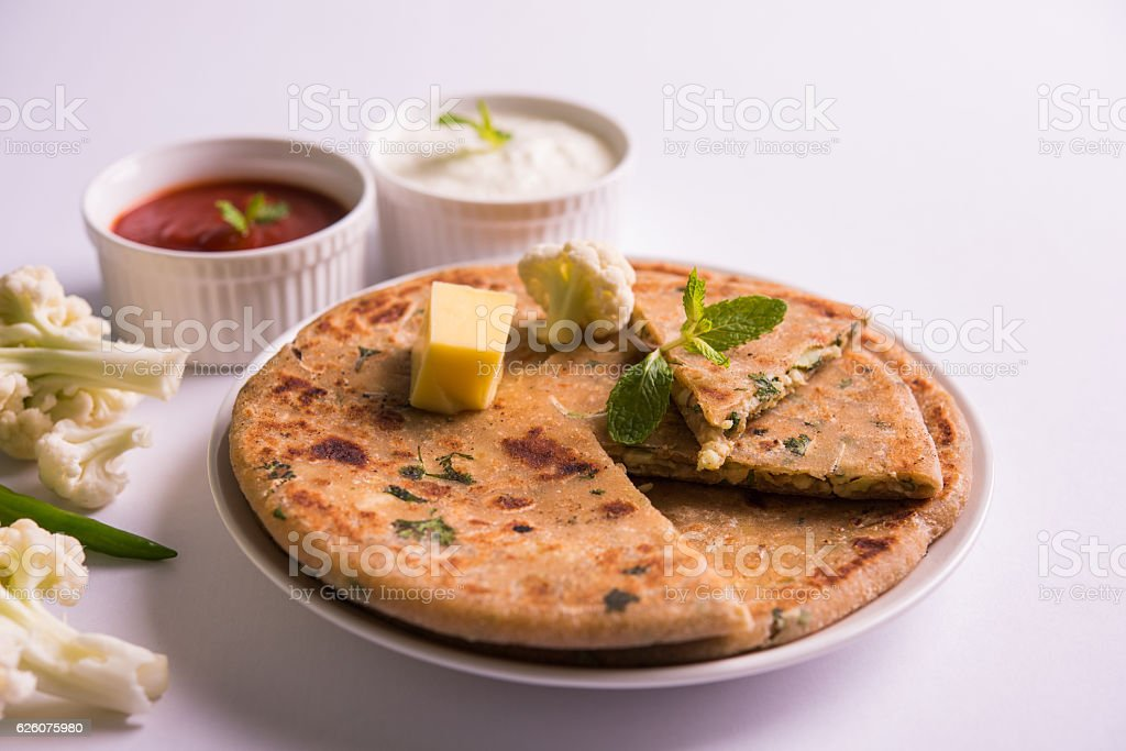 gobi paratha or cauliflower parotha stock photo