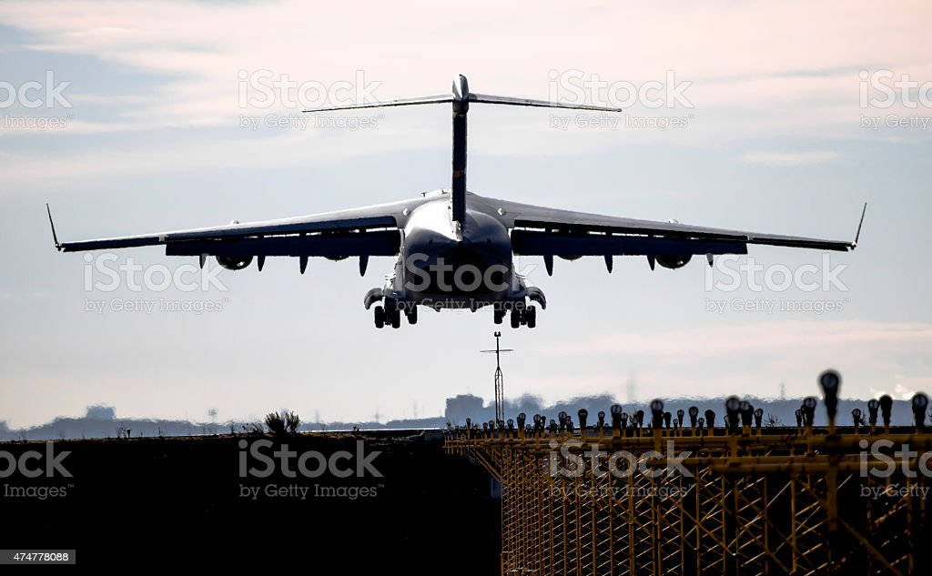 C -17  Goblemaster III landing in Torrejon de Ardoz (LETO) stock photo