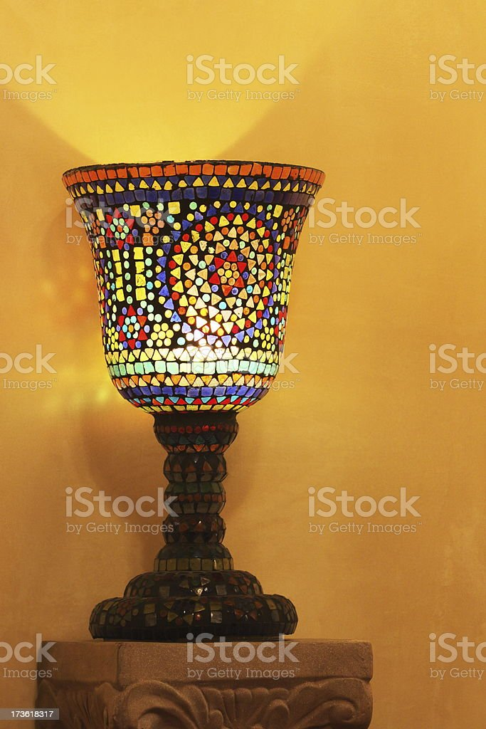 Goblet Candle Stained Glass Decor royalty-free stock photo